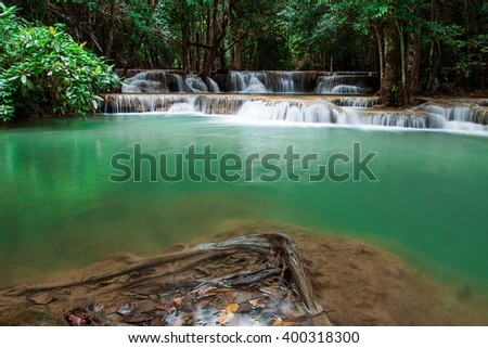 waterfall in Thailand ,Kanjanaburi (Huay Mae Kamin) - stock photo