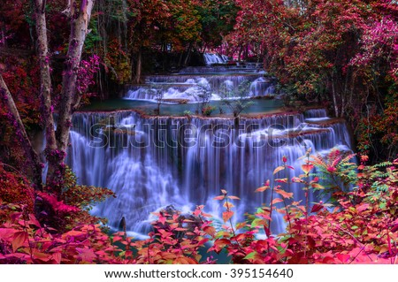 Waterfall in Thailand waterfall is beautiful, do not lose any. - stock photo