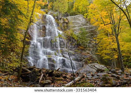 Waterfall in the Adirondacks with autumn foliage, New York State - stock photo