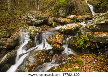 Waterfall in the Appalachian Mountains in the Autumn - stock photo