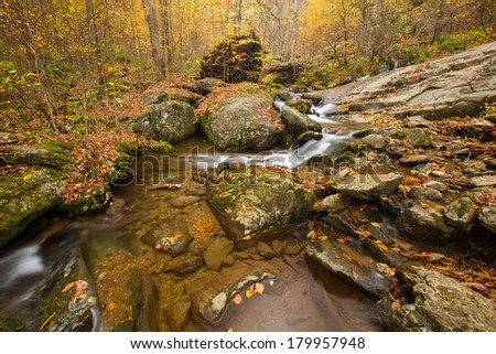 Waterfall in the Appalachian Mountains in the autumn, Skyline Drive - stock photo