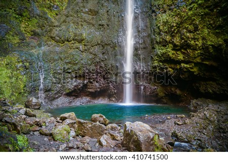 waterfall in the end of Levada Caldeirao Verde, Madeira, Portugal - stock photo