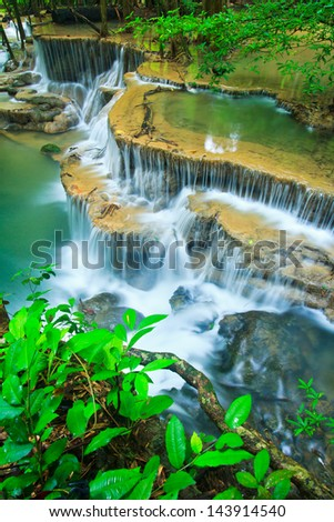 Waterfall in the forest kanchanaburi thailand