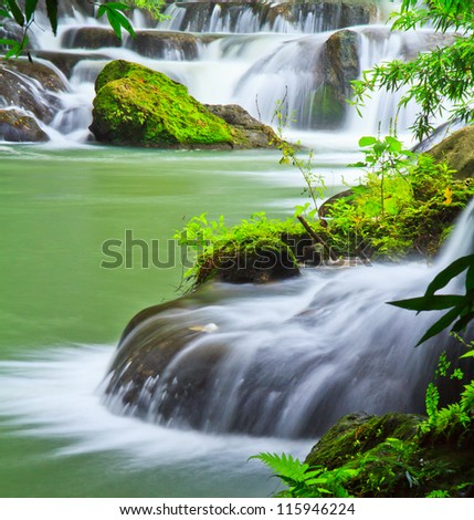 waterfall in the Forest National park thailand - stock photo