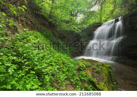 Waterfall in the forest of Bulgaria - stock photo