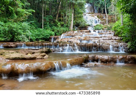 Waterfall in the forest, Pa Chareon Waterfall National Park, Thailand.