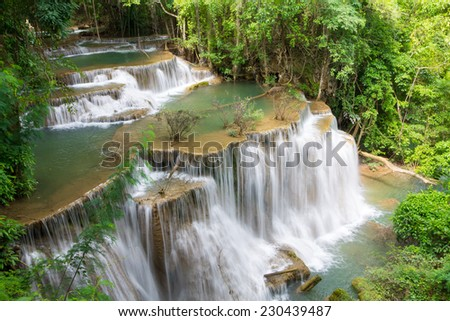 waterfall in the Huai Mae Kamin, Kanchanaburi Province, Thailand