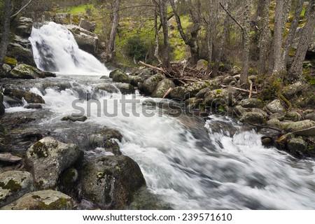 Waterfall in the Iruelas river in the Cruceras. Sierra de Gredos. Avila. Castilla Leon. Spain. Europe. - stock photo