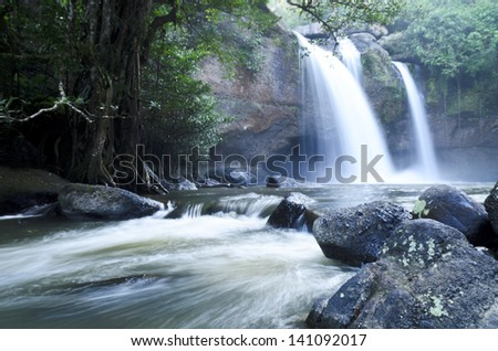 Waterfall in the jungle at national park,Thailand