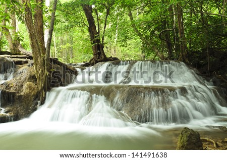 Waterfall in the jungle at national park,Thailand - stock photo