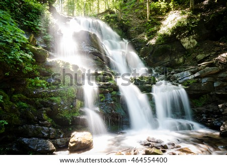 Waterfall in the mountain forest, long exposure shot, smooth water streams