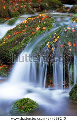 Waterfall in the national park Sumava, Czech Republic - stock photo