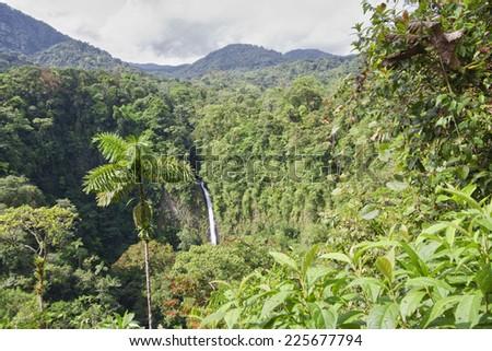 Waterfall in the rainforest of Costa Rica - Catarata Rio Fortuna, La Fortuna, Alajuela province, Costa Rica - stock photo