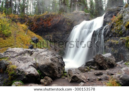 Waterfall in Yellowstone National Park - stock photo
