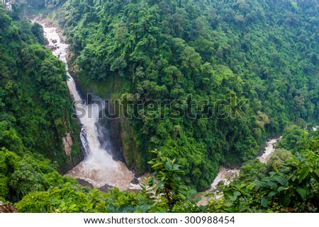 Waterfall is beautiful and very high at Khao yai National, Thailand - stock photo