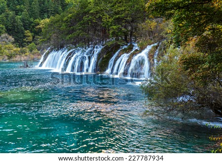 Waterfall. Jiuzhaigou Valley was recognize by UNESCO as a World Heritage Site and a World Biosphere Reserve - China
