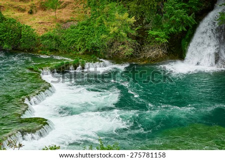 waterfall Krka; Croatia - stock photo