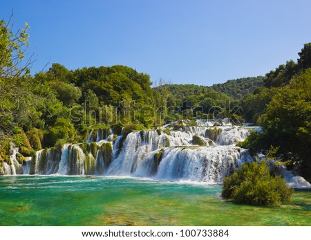 Waterfall KRKA in Croatia - nature travel background - stock photo