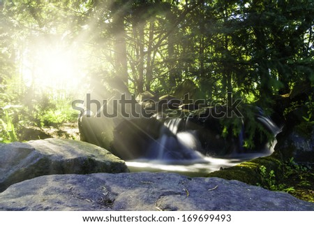 Waterfall landscape In the deep forest on mountain