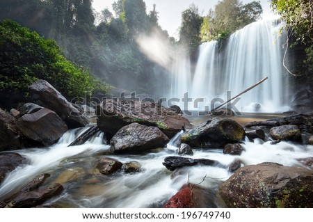 Waterfall landscape panorama. Outdoor hdri photography  - stock photo
