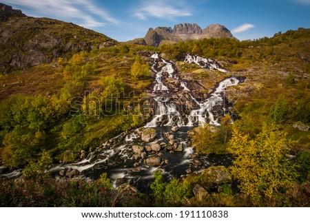 Waterfall, Lofoten island,Norway - stock photo