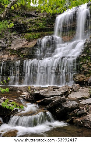 Waterfall Long Exposure - stock photo