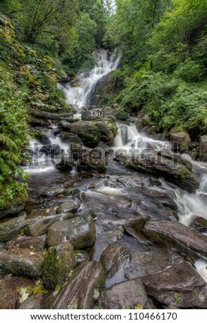 Waterfall - Mockross House, Killarney Ireland - stock photo