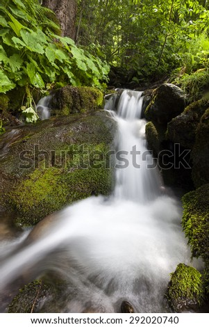 Waterfall near Moso in Passiria valley, south tyrol - stock photo