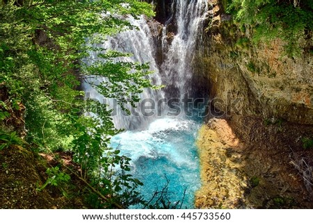 Waterfall of La Cueva in the Ordesa National Park in Spain.