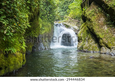 Waterfall of Nambillo river, Mindo (Ecuador) - stock photo