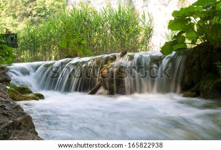 Waterfall on Plitvice lakes - national park of Croatia - stock photo