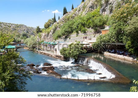 Waterfall on source of the Buna river near Mostar. Bosnia and Herzegovina - stock photo
