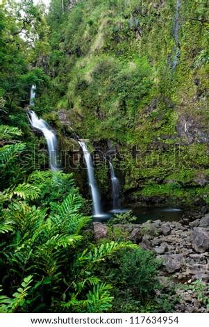 Waterfall on the road to Hana, Maui, Hawai'i - stock photo