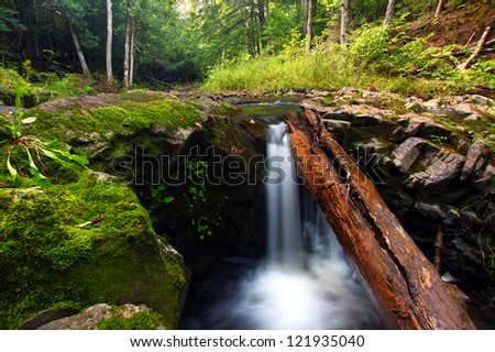 Waterfall on the Union River in Porcupine Mountains Wilderness State Park - stock photo