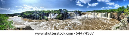 Waterfall overview - stock photo