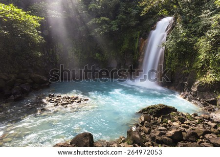 Waterfall Rio Celeste (sky blue river) at Tenorio Volcano National Park.