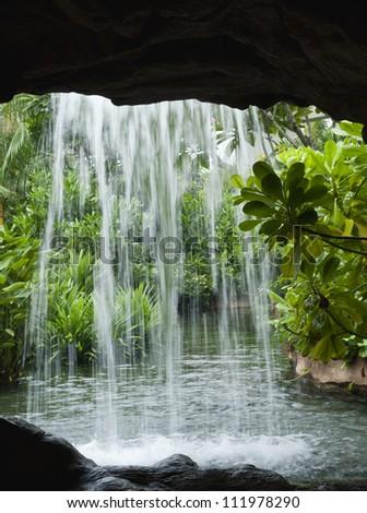 Waterfall, Singapore - stock photo