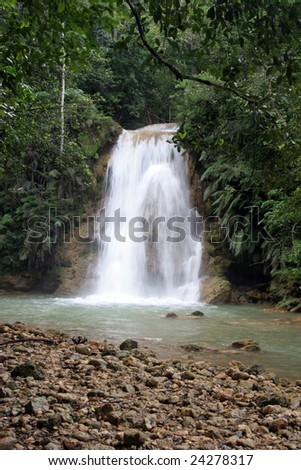 waterfall surrounded of tropical vegetation, Dominican Republic