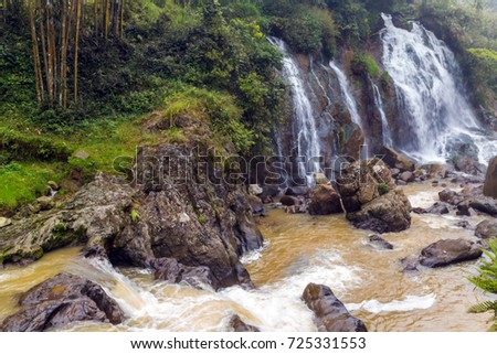 Waterfall Tien Sa falls, Sapa tropical village, Lao Cai Province, nature landscape in Vietnam Northwest