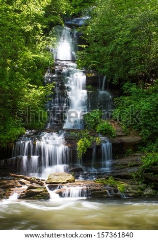 Waterfall Tom Branch Falls  in the Smoky Mountains National Park  - stock photo