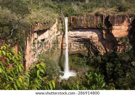 Waterfall (veu da noiva) at Chapada dos Guimaraes, Mato Grosso, Brazil  - stock photo