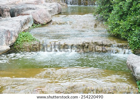 Waterfall was built to be used decorate the garden - stock photo