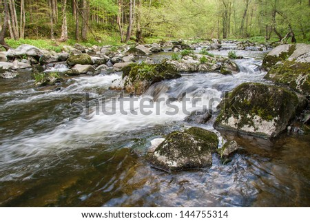 Waterfall with stones - stock photo