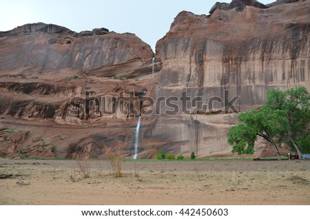 Waterfalls at Canyon de Chelly in Chenley, Arizona USA
