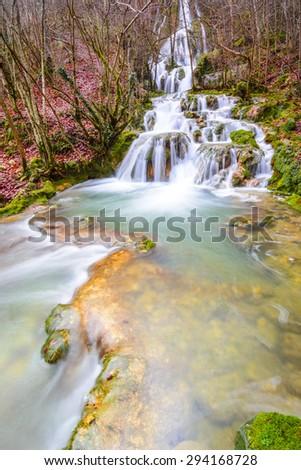Waterfalls at Entzia mountain range (Spain) - stock photo