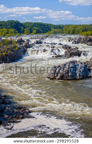 Waterfalls at Great Falls National Park in Virginia on a summer day - stock photo