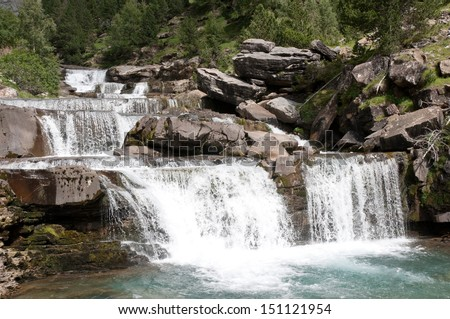 Waterfalls at Ordesa National Park, Pyrenees (Spain) - stock photo