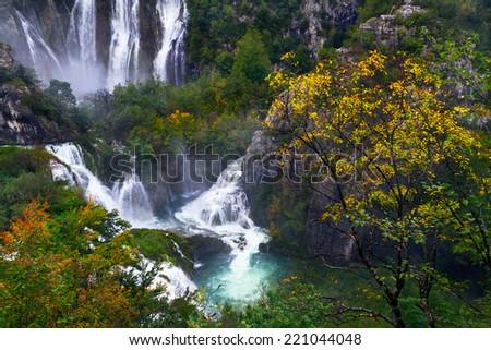 Waterfalls at Plitvice Lakes National Park, Croatia - stock photo