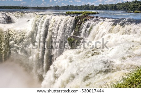 Waterfalls at the Iguazu falls with slow shutter speed