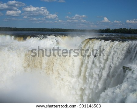 Waterfalls at the Iguazu National Park on the border of Argentina and Brazil.